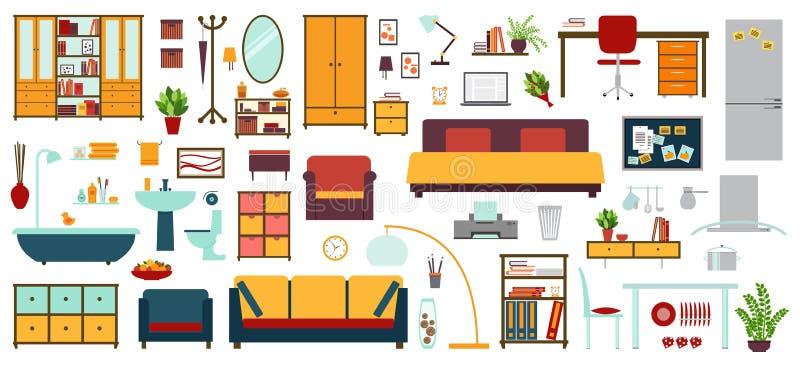 Iconos de los muebles en el estilo plano para la casa for Muebles para la casa baratos