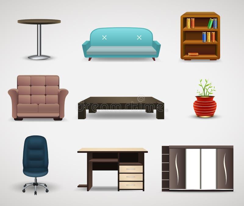 Iconos de los muebles, sistema de elementos interiores stock de ilustración
