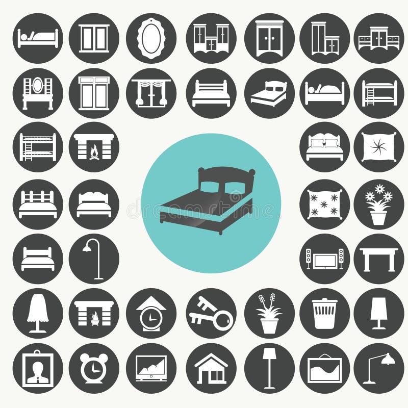 Iconos de los muebles y de los accesorios del dormitorio fijados libre illustration