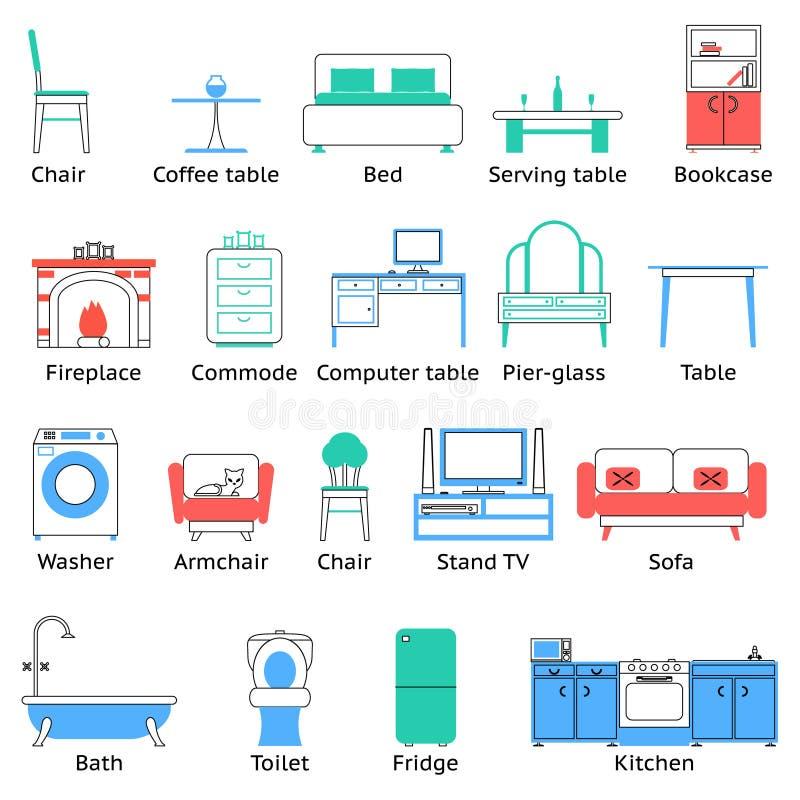 Iconos de los muebles y sistema de símbolos planos para el ejemplo aislado sala de estar del vector stock de ilustración