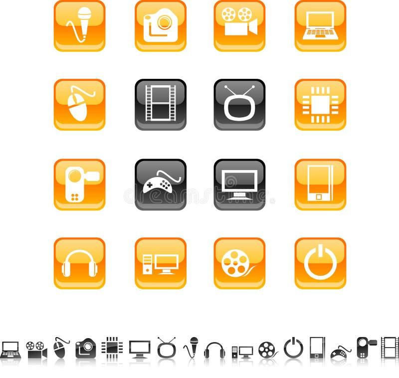 Iconos de los multimedia. stock de ilustración