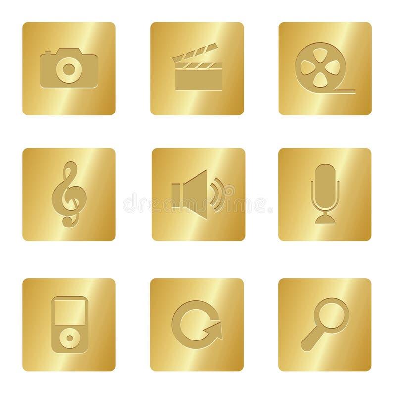 Iconos de los multimedia | Cuadrado de bronce 03 libre illustration