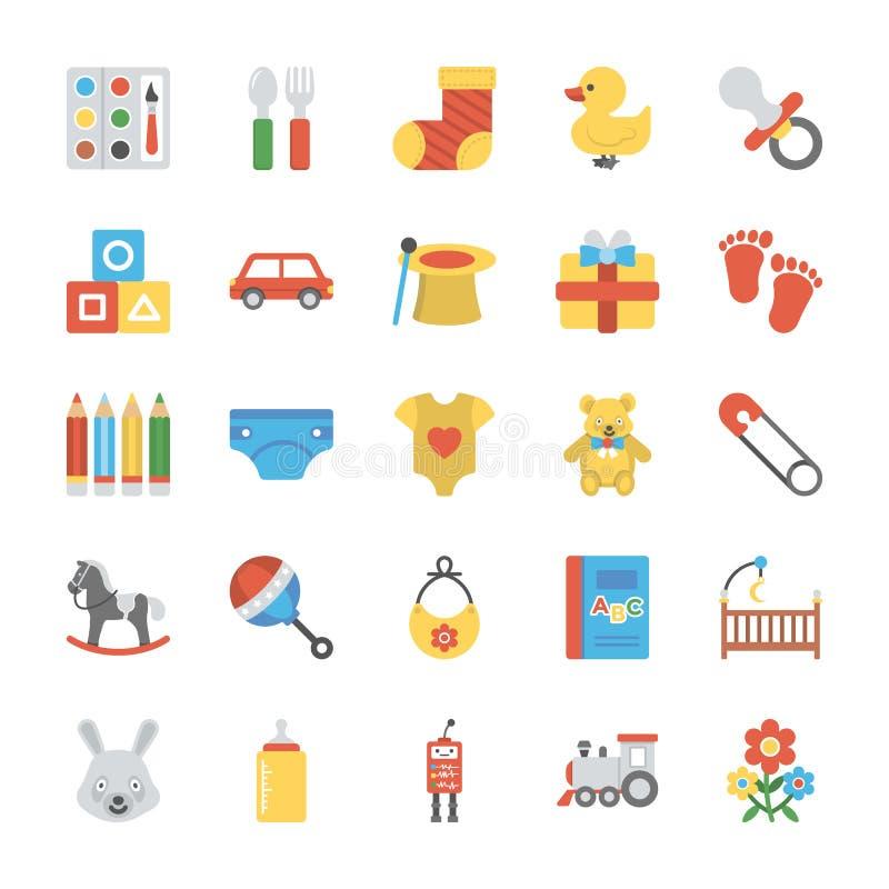 Iconos de los niños y de los niños fijados stock de ilustración