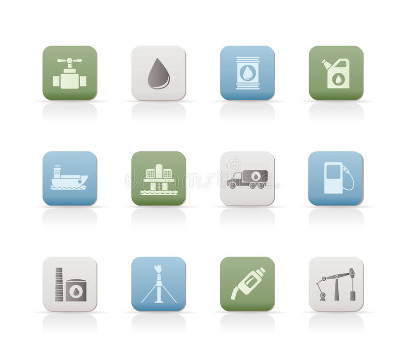 Iconos de los objetos de la industria del petróleo y de la gasolina stock de ilustración