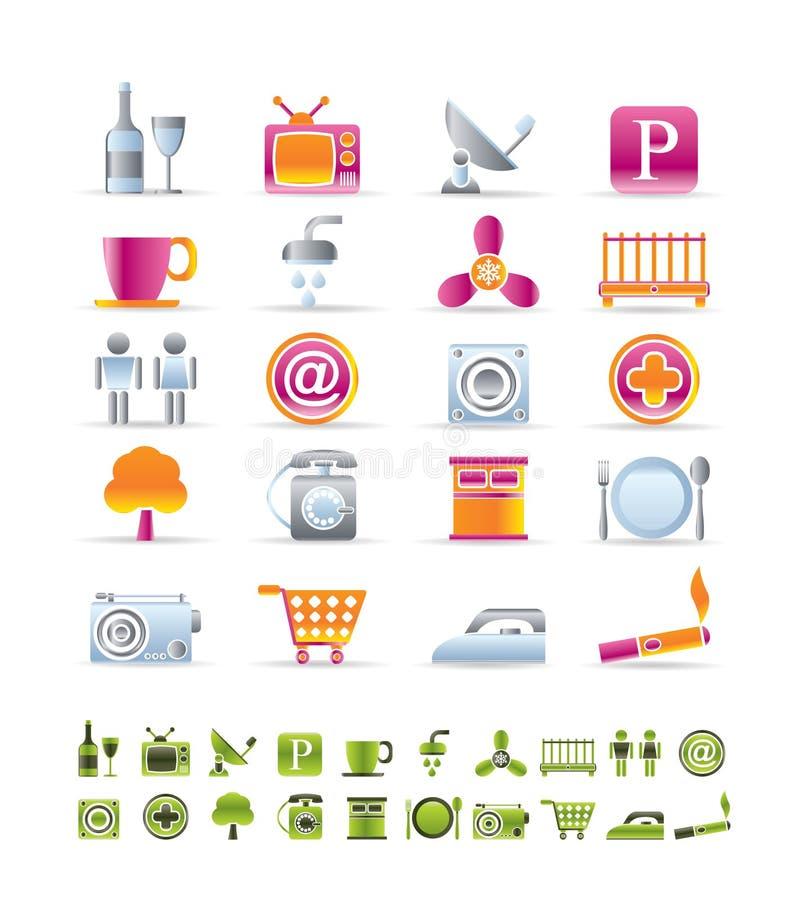 Iconos de los objetos del hotel y del motel libre illustration