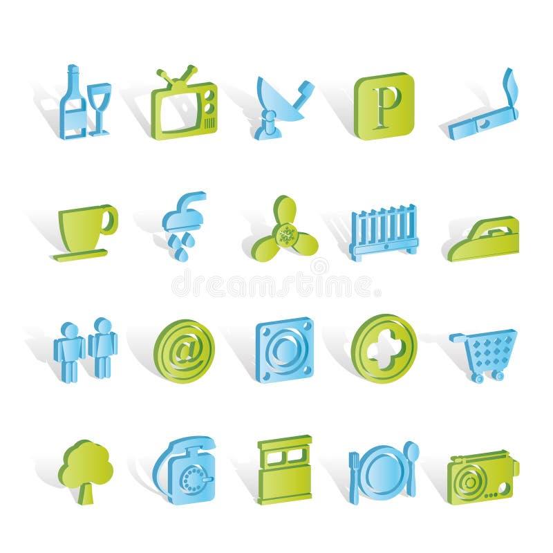 Iconos de los objetos del hotel y del motel ilustración del vector
