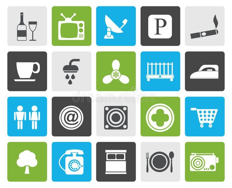 Iconos de los objetos del hotel y del motel de la silueta libre illustration