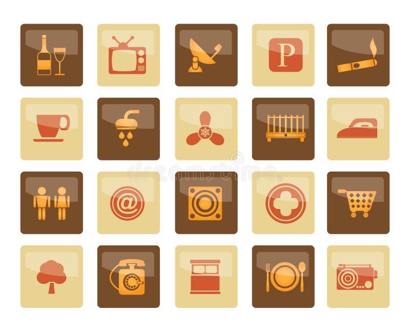 Iconos de los objetos del hotel y del motel sobre fondo marrón libre illustration