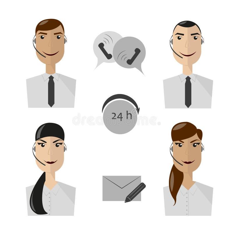 Iconos de los operadores de centro de atención telefónica, de la hembra y del avatar del varón fotos de archivo