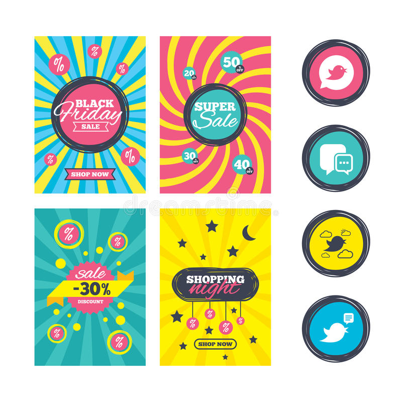 Iconos de los pájaros Medios burbuja social del discurso stock de ilustración