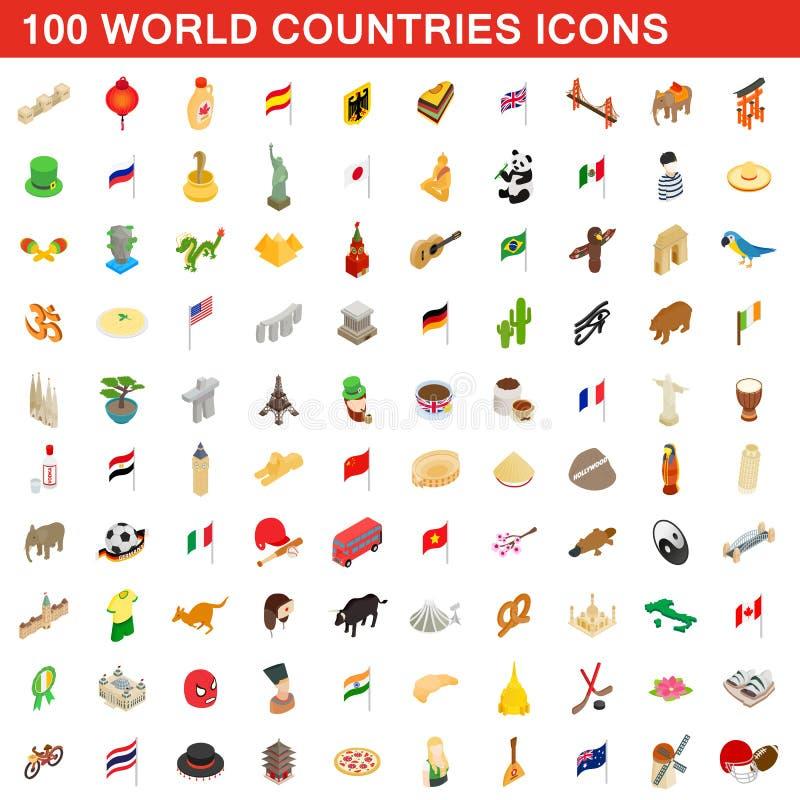 100 iconos de los países del mundo fijaron, el estilo isométrico 3d stock de ilustración