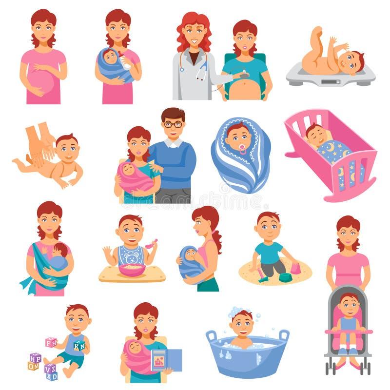 Iconos de los padres fijados ilustración del vector