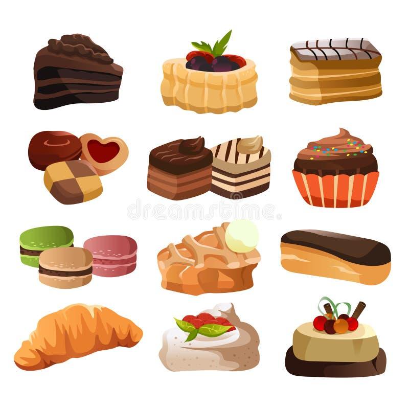 Iconos de los pasteles stock de ilustración