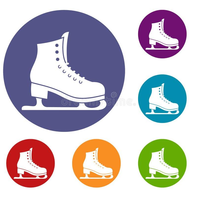 Iconos de los patines fijados stock de ilustración