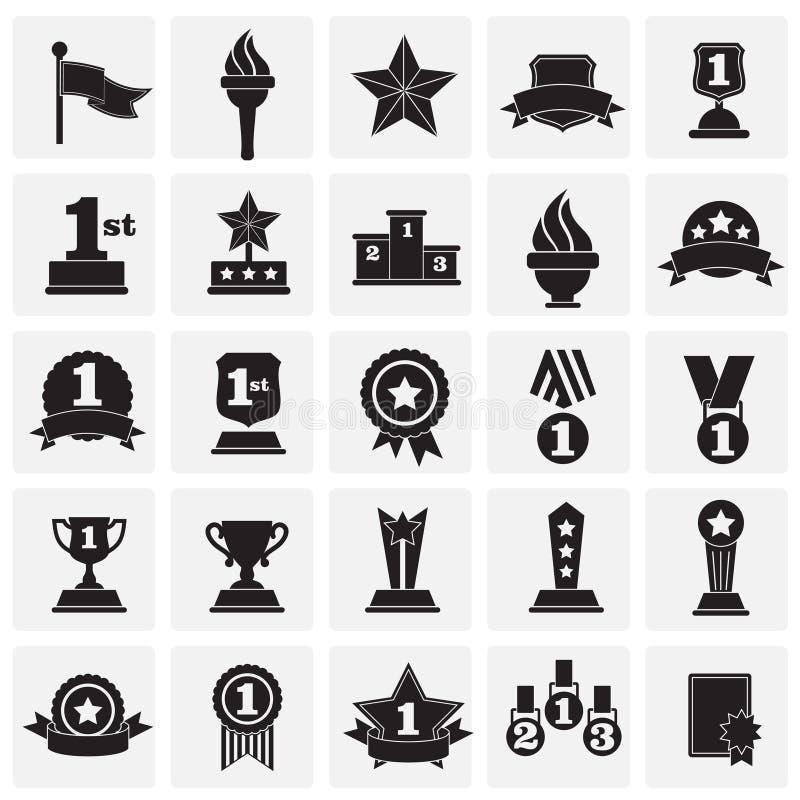 Iconos de los premios fijados en el fondo de los cuadrados para el gráfico y el diseño web Muestra simple del vector Símbolo del  libre illustration