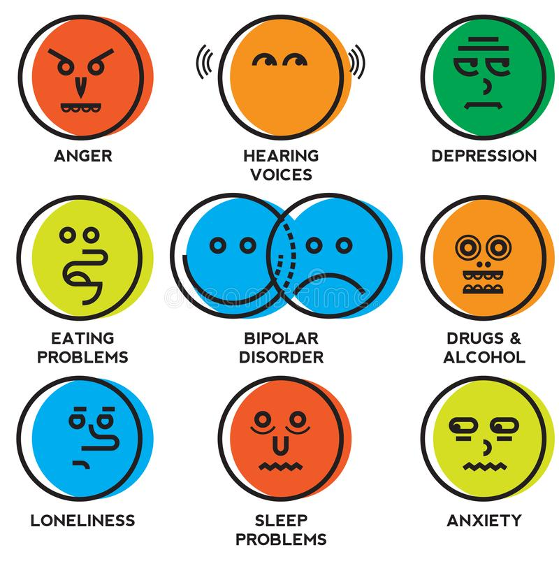 Iconos de los problemas de salud mental stock de ilustración