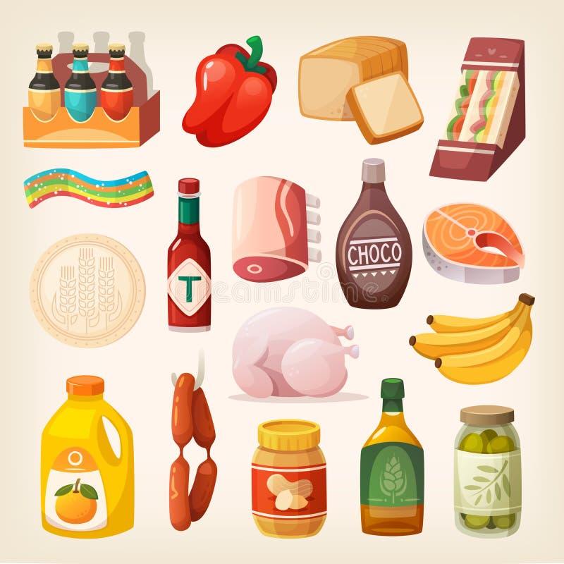 Iconos de los productos alimenticios stock de ilustración