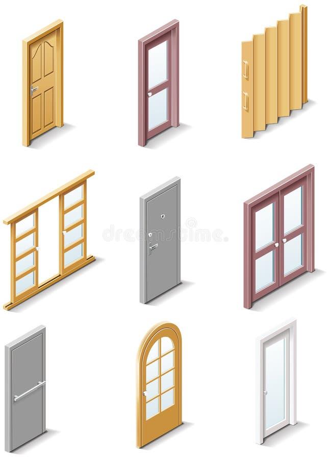 Iconos de los productos del edificio del vector. Puertas de la parte 3. ilustración del vector