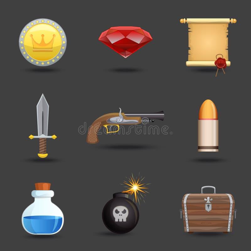 Iconos de los recursos del juego stock de ilustración