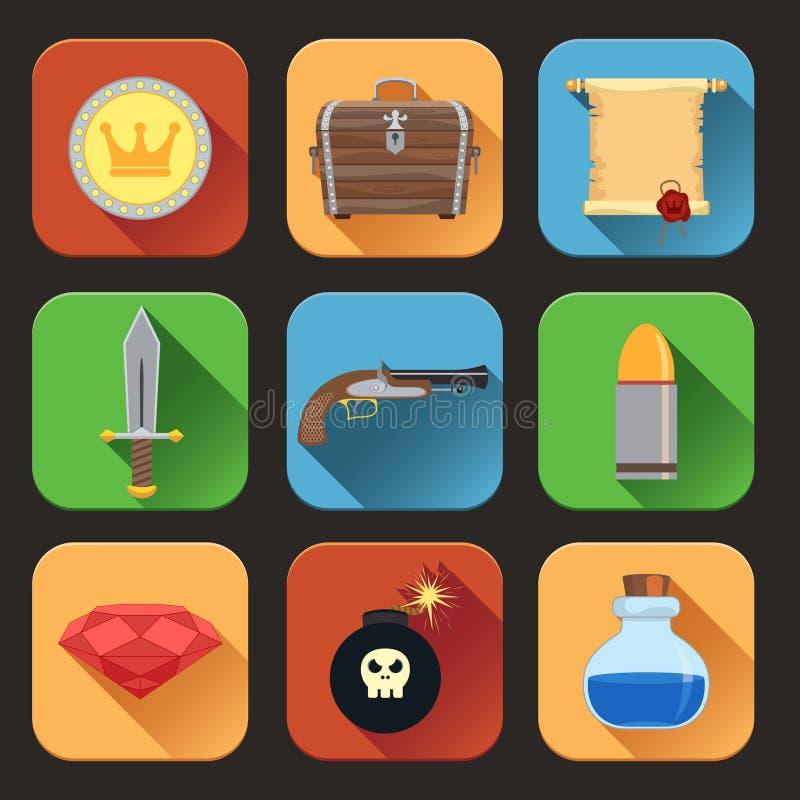 Iconos de los recursos del juego planos libre illustration