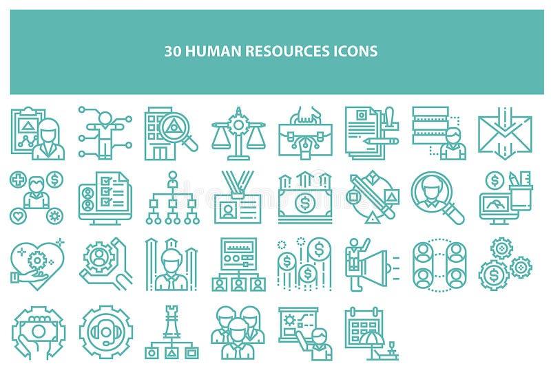Iconos de los recursos humanos del vector de Torquoise ilustración del vector