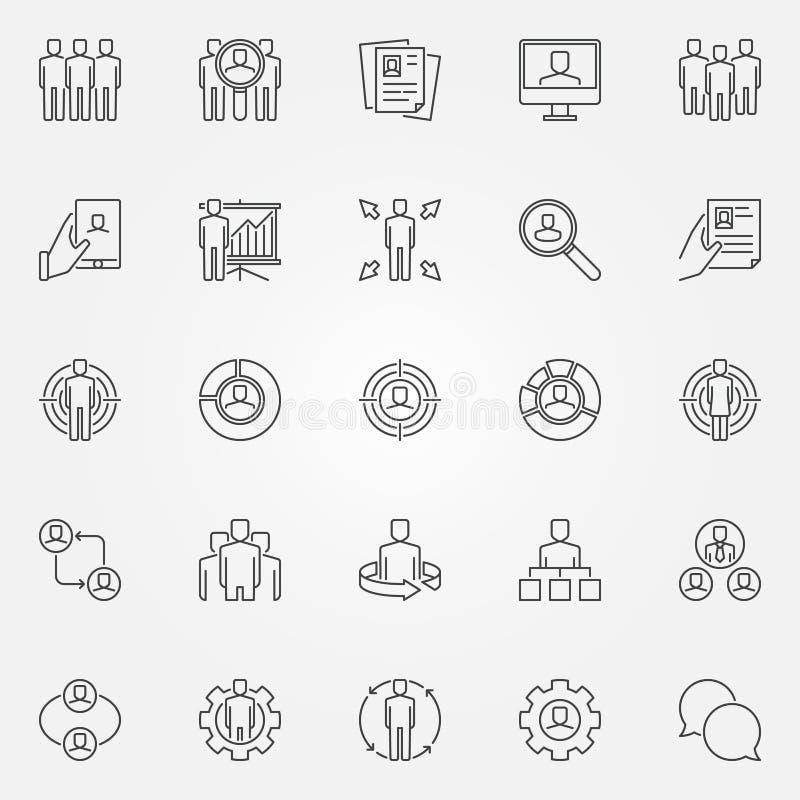 Iconos de los recursos humanos fijados stock de ilustración