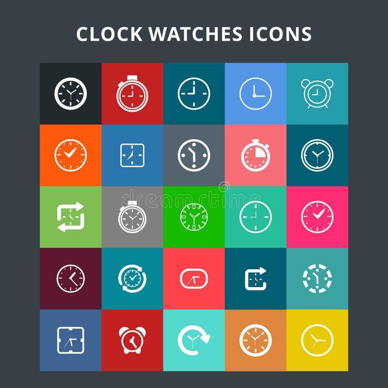 Iconos de los relojes de reloj ilustración del vector