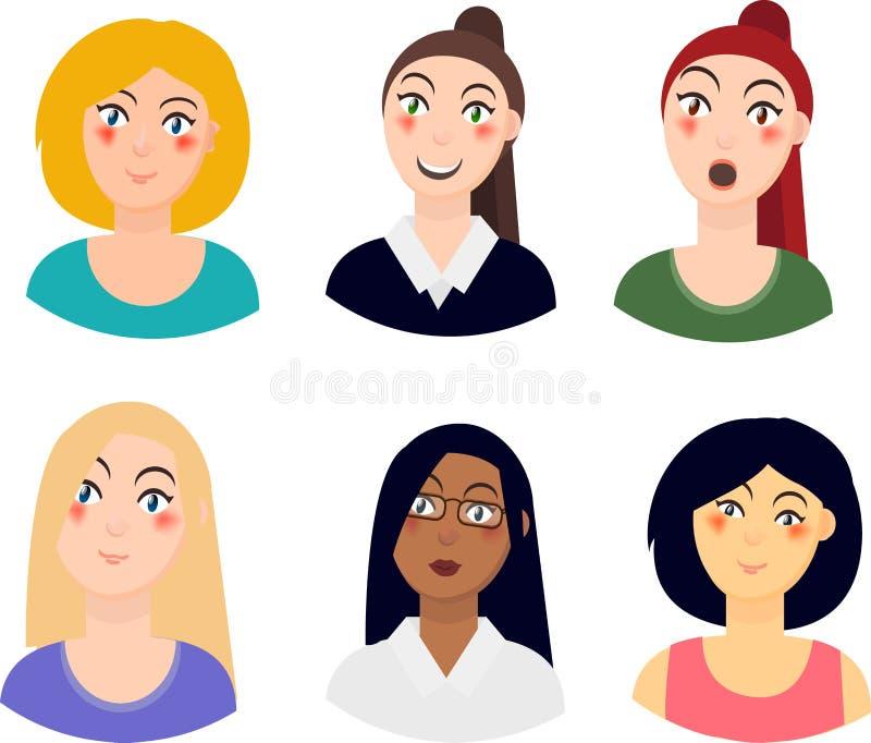Iconos de los retratos de las mujeres, diversas razas, diversas emociones, sistema de gente de los avatares Stedenrt, científico, ilustración del vector