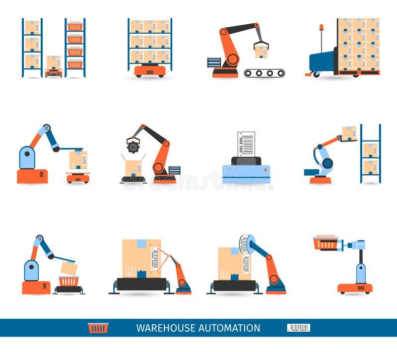 Iconos de los robots de Warehouse fijados libre illustration