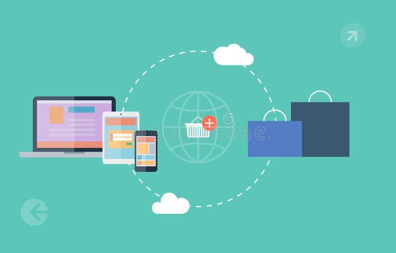 Iconos de los símbolos del comercio electrónico, compras de Internet stock de ilustración