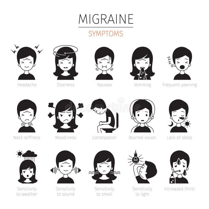 Iconos de los síntomas de la jaqueca fijados, monocromático stock de ilustración