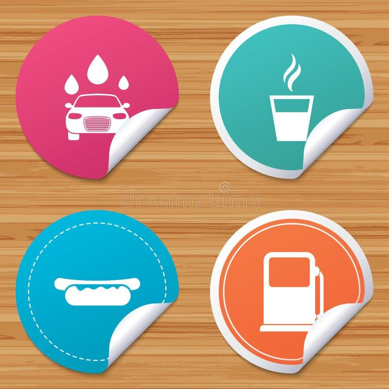 Iconos de los servicios de la gasolinera de la gasolina o Máquina limpia de Washington del coche, colada de coche con la esponja  libre illustration