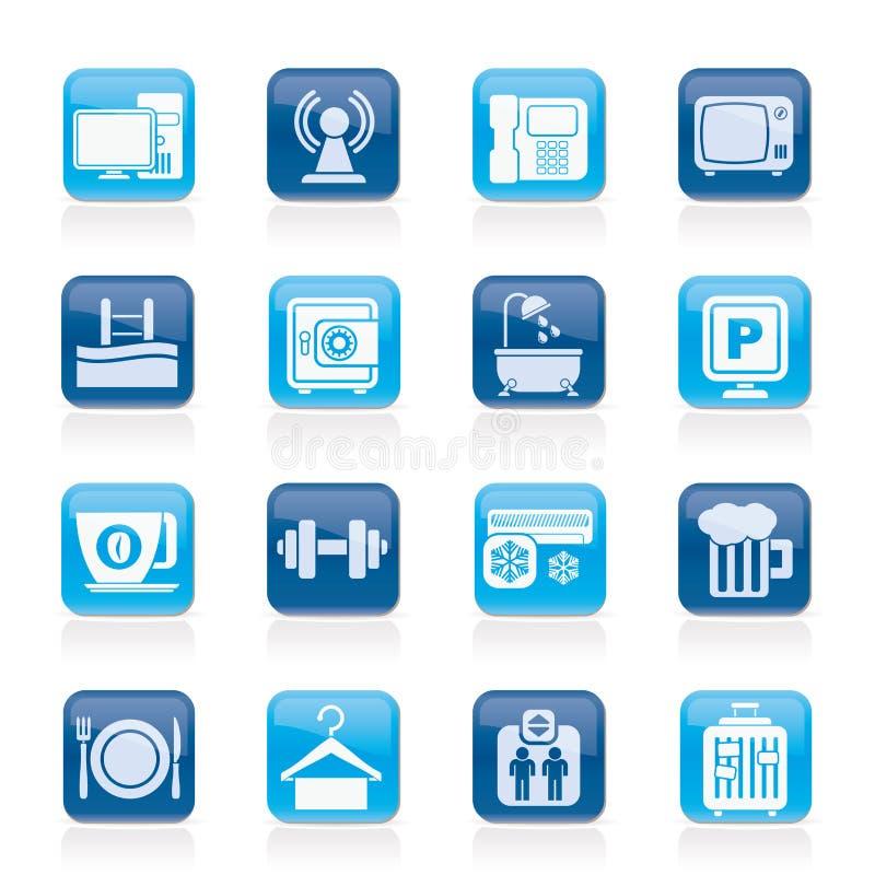 Iconos de los servicios de las amenidades del hotel stock de ilustración