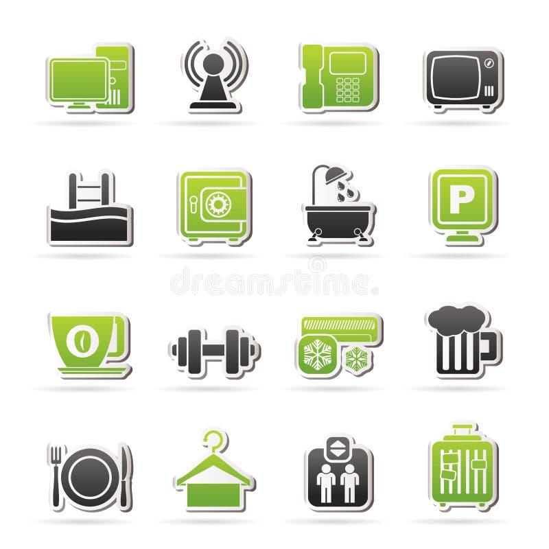 Iconos de los servicios de las amenidades del hotel ilustración del vector