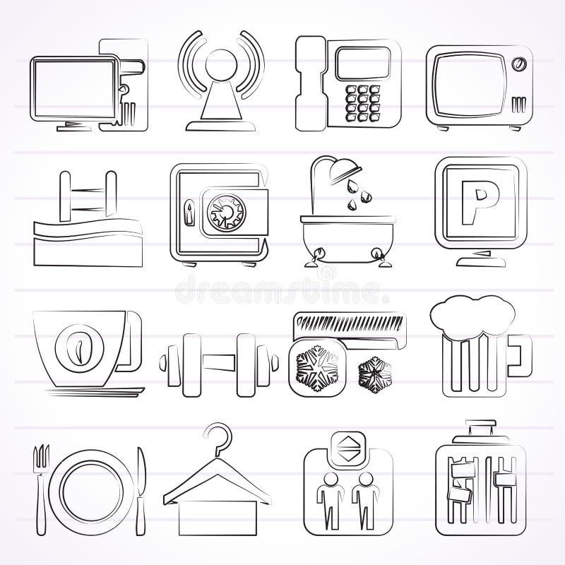 Iconos de los servicios de las amenidades del hotel libre illustration