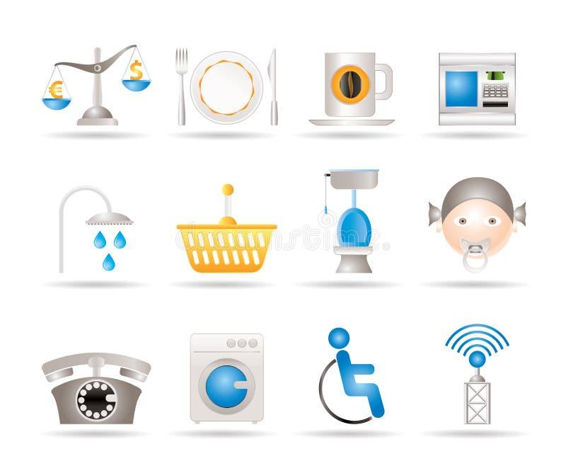 Iconos de los servicios del borde de la carretera, del hotel y del motel libre illustration