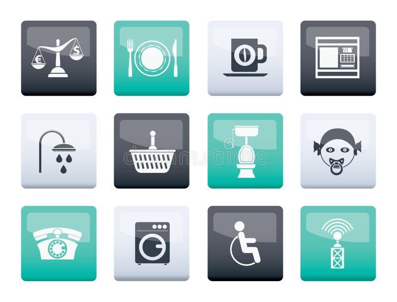 Iconos de los servicios del borde de la carretera, del hotel y del motel sobre fondo del color libre illustration