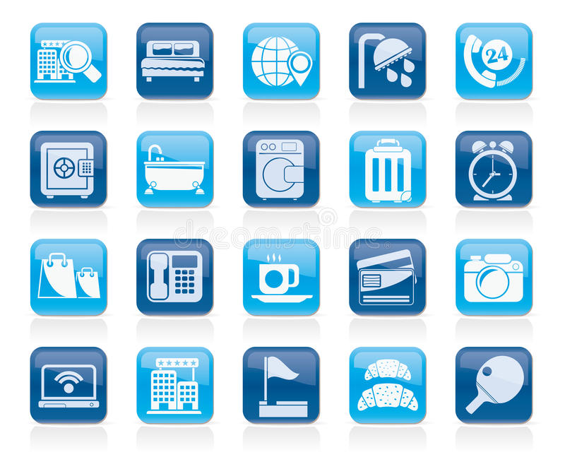 Iconos de los servicios del hotel y del motel ilustración del vector