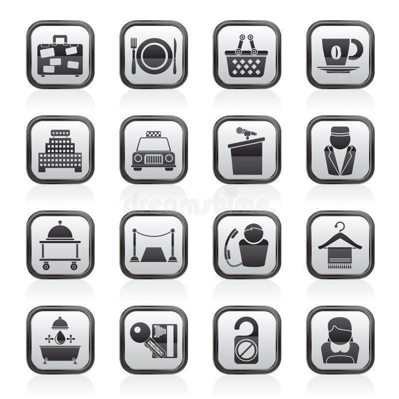 Iconos de los servicios del hotel y del motel stock de ilustración