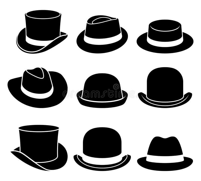Iconos de los sombreros del vintage libre illustration