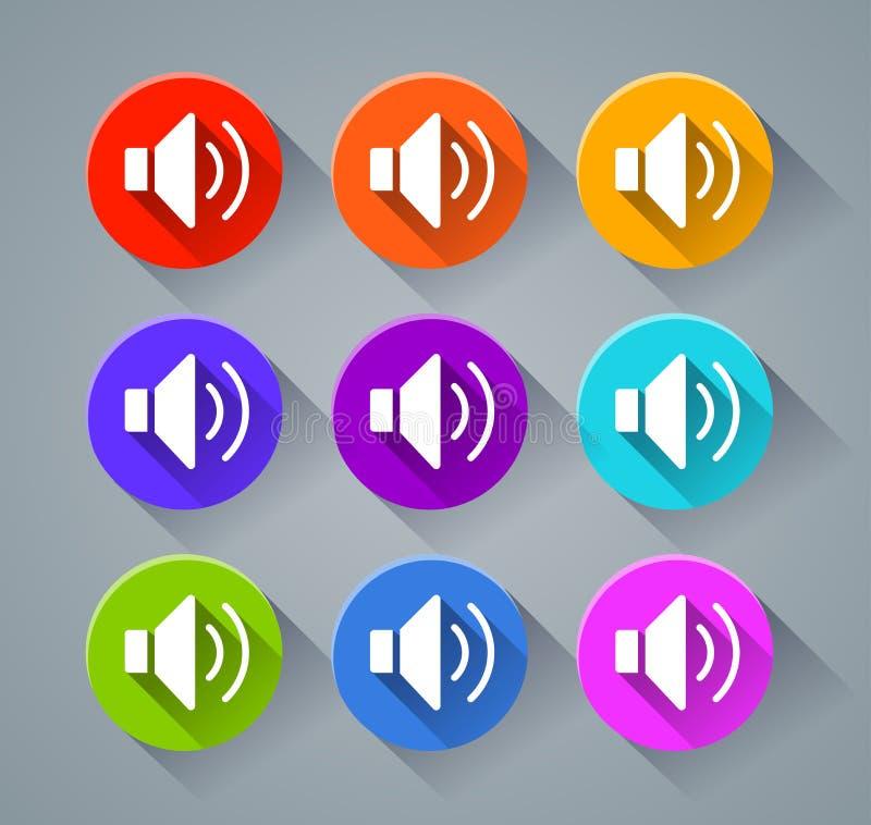 Iconos de los sonidos con diversos colores ilustración del vector