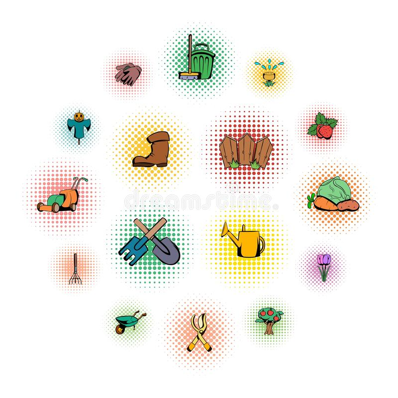 Iconos de los tebeos del jardín fijados libre illustration