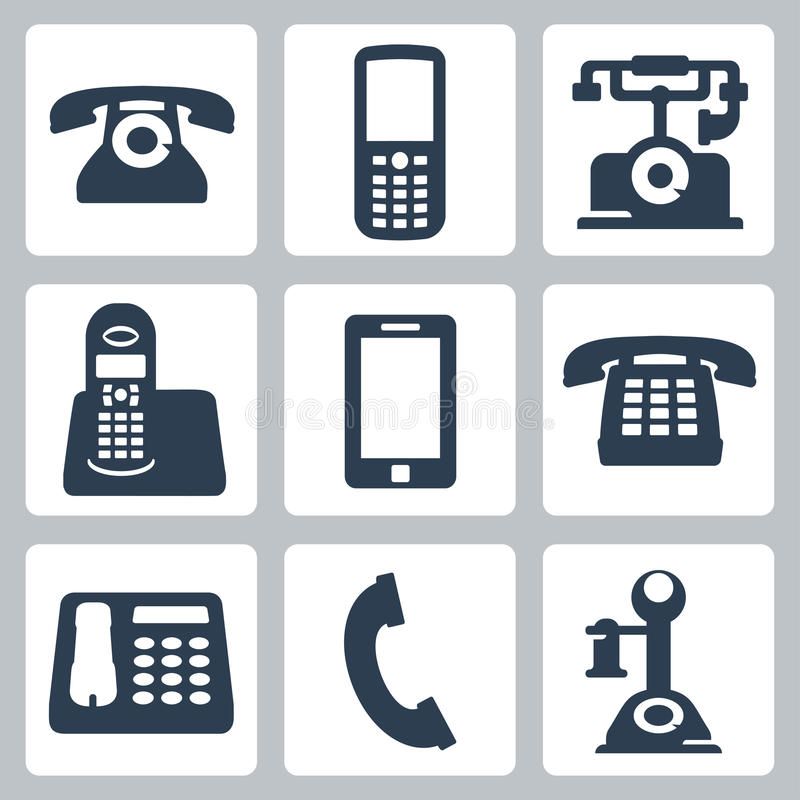 Iconos de los teléfonos del vector fijados ilustración del vector