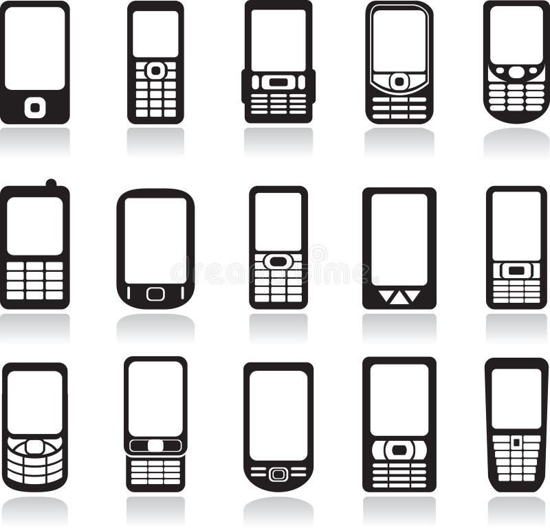 Iconos de los teléfonos móviles fijados stock de ilustración