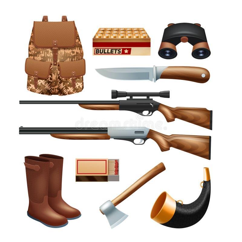 Iconos de los trastos y del equipo de la caza fijados stock de ilustración