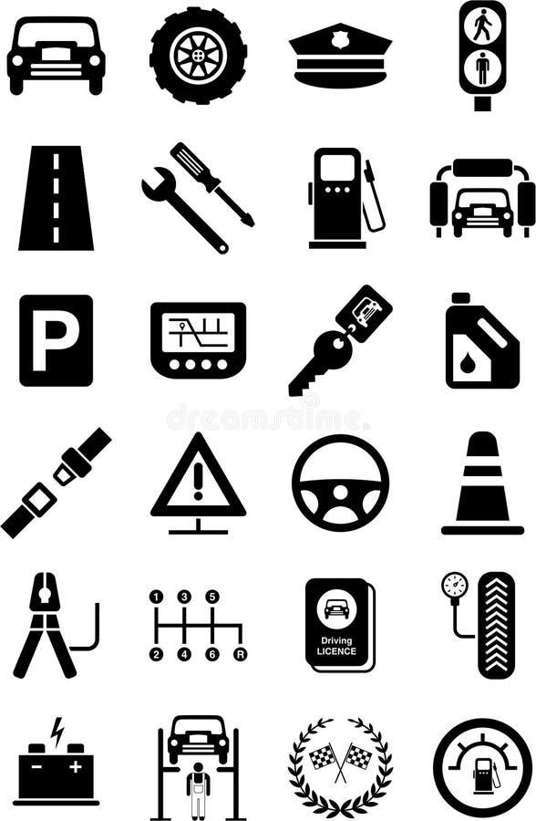 Iconos de los vehículos, del tráfico y de mecánico de motor stock de ilustración