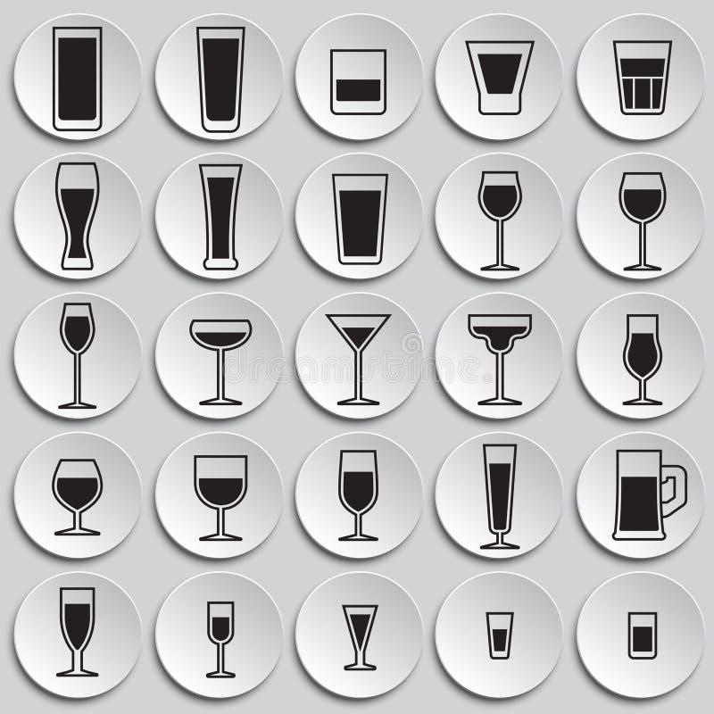 Iconos de los vidrios fijados en el fondo de las placas para el gráfico y el diseño web Muestra simple del vector Símbolo del con libre illustration