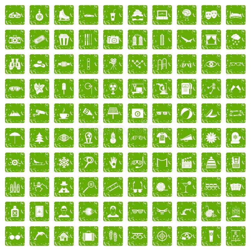 100 iconos de los vidrios fijaron verde del grunge ilustración del vector