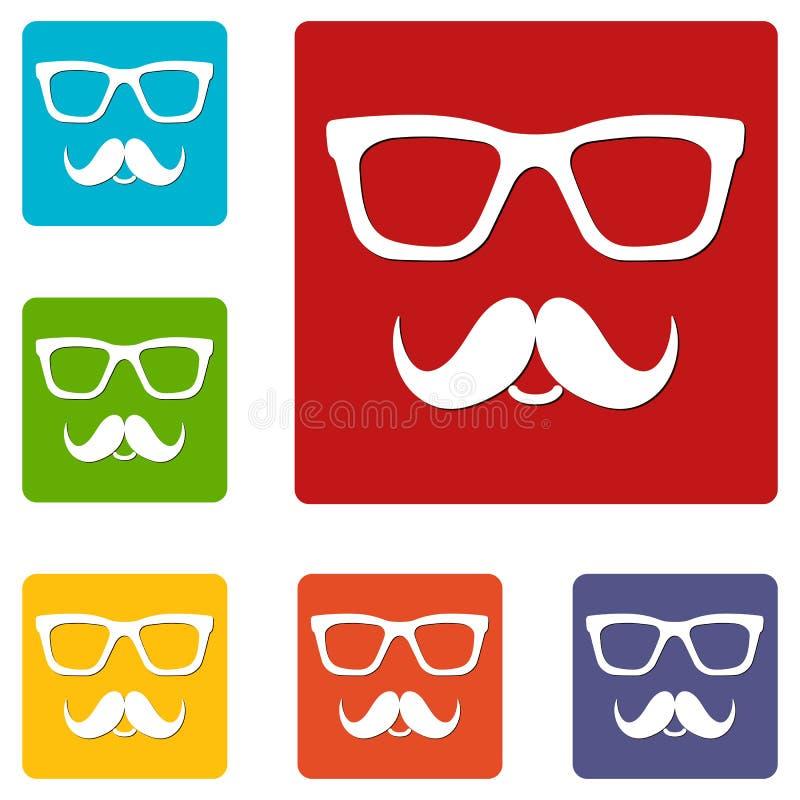 Iconos de los vidrios y de los bigotes del empoll?n Fije del botón de la web en el fondo blanco stock de ilustración