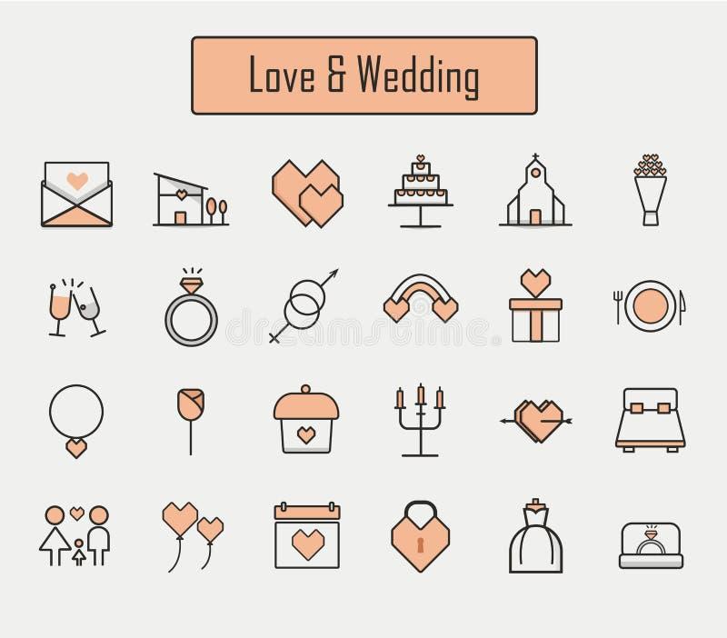 Iconos de Love&wedding fijados libre illustration
